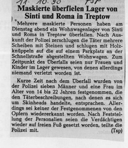 Maskierte überfielen Lager von Sinti und Roma in Treptow