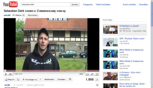 Sebastian Dahl - Videobotschaft auf YouTube / Bildquelle: Screenshot von www.youtube.com