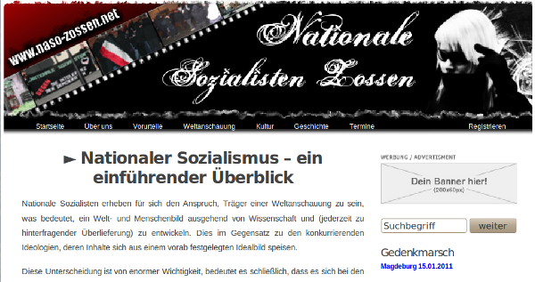 "Screenshot: Website der ""Nationalen Sozialisten Zossen"""