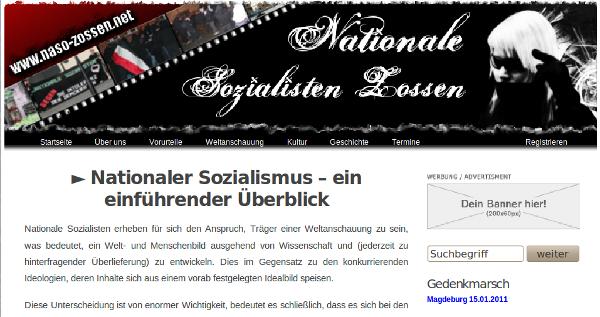 "Screenshot: Website der ""Nationalen Sozialisten Zossen"""
