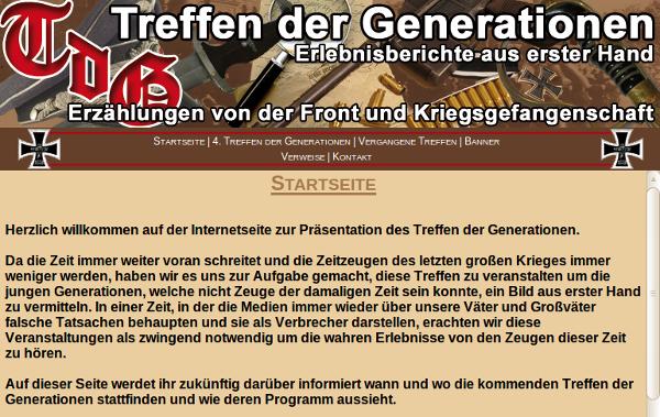 """Screenshot: Internetseite """"Treffen der Generationen"""""""
