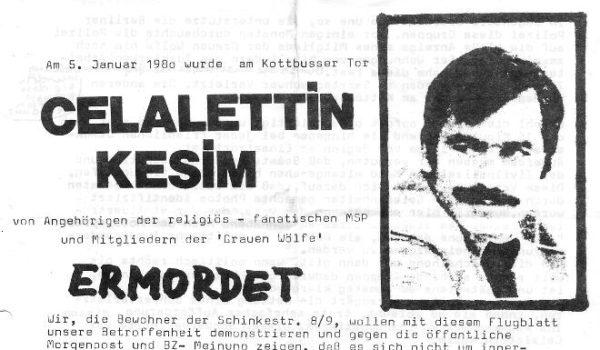Aufruf für die Demo am 12. Januar 1980