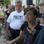 Maria Fank (Ring Nationaler Frauen) am 9. Juli in Marzahn-Hellersdorf
