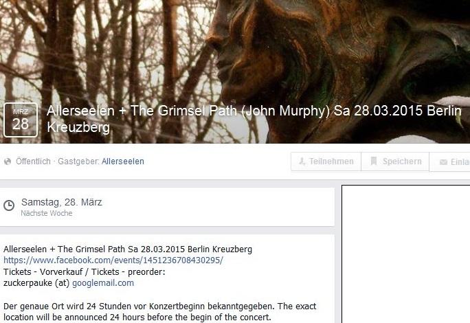 Facebook-Ankündigung für das Konzert am 28. März in Kreuzberg