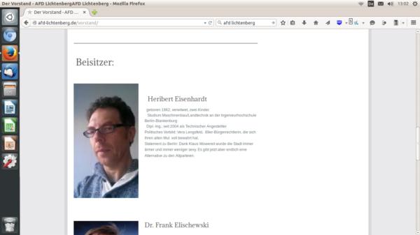 Heribert Eisenhardt, Beisitzer im AfD Kreisverband Lichtenberg (Screenshot der Website) (Screenshot der