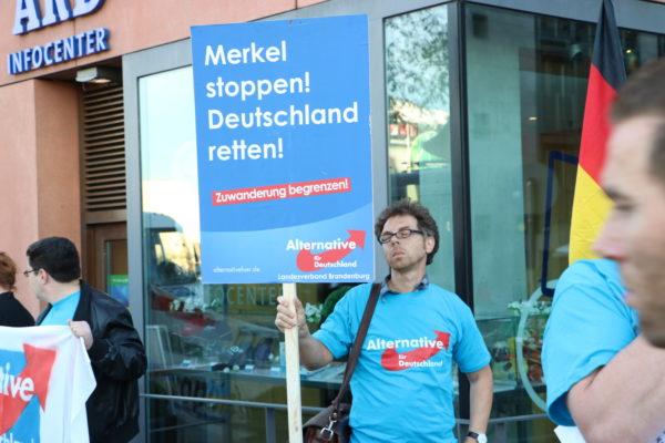 """Träumend gegen Merkel: Heribert Eisenhardt bei der """"Danke Ungarn""""-PR-Aktion der Berliner AfD am 2. Oktober 2015."""