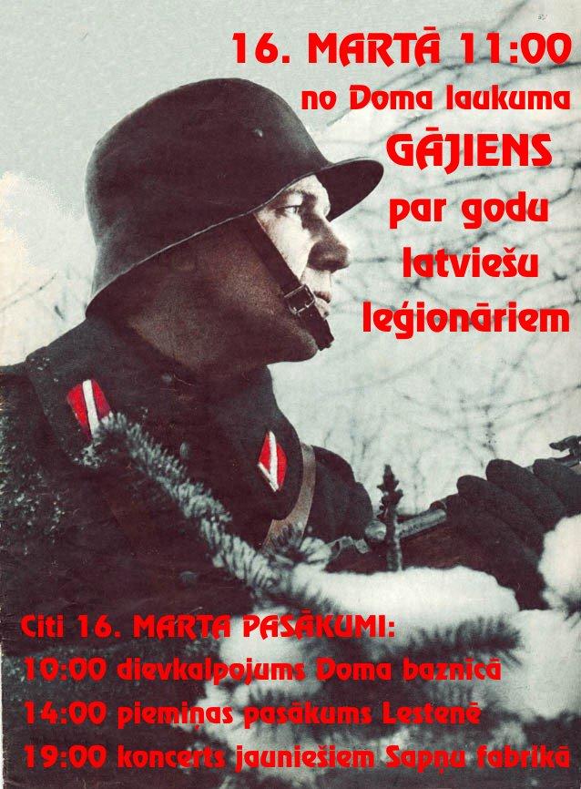 """Werbung für den """"Legionärstag"""" am 16. März 2012, bei dem das Konzert in der Spnu Fabriken als Programmpunkt angekündigt."""