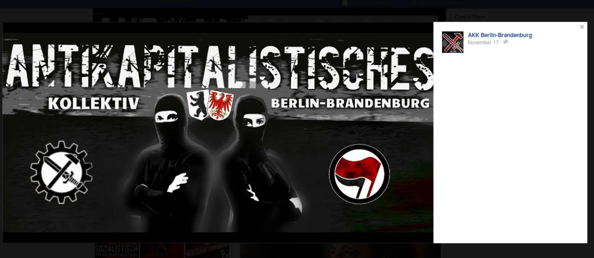 """Screenshot von der Facebook-Seite vom """"Antikapitalistischen Kollektiv Berlin Brandenburg""""."""