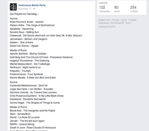 """Playlist der """"Verlorenes Berlin""""-Party am 14. November 2015 im """"Chesters"""". (Screenshot von der Facebook-Seite von """"Verlorenes Berlin"""")"""