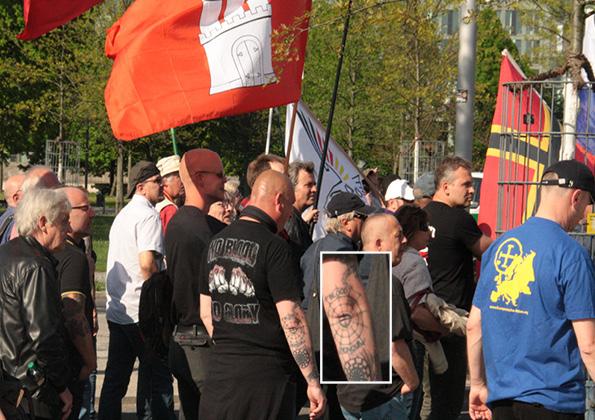 """""""Blood & Honour"""" - Tattoo, """"Patriotische Plattform"""" und """"Europäische Aktion"""" © apabiz"""